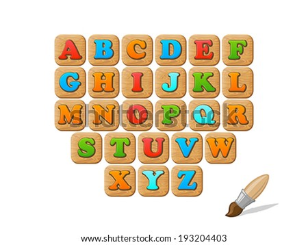 ABC on wooden blocks funny kid vector set.  Alphabet children education collection. - stock vector