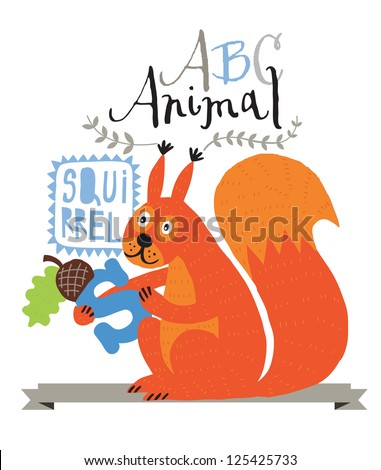 ABC squirrel - stock vector