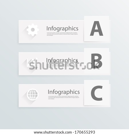 ABC three white banner of infographics. Vector illustration - stock vector