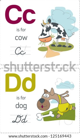 abc with animals. C-D. Cow - Dog. - stock vector