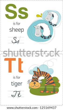 abc with animals. S-T. Sheep - Tiger. - stock vector