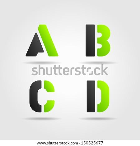 ABCD green - stock vector