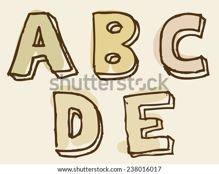 abcde uppercase stained alphabet letter set with rough hand-drawn doodle sketch outlines for decorative typographical text in shades of brown - stock vector