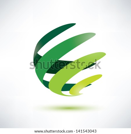abctract green globe icon, ecology and nature concept - stock vector