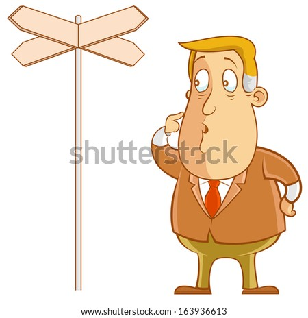 Abe the Businessman - standing confused next to directional signage - stock vector