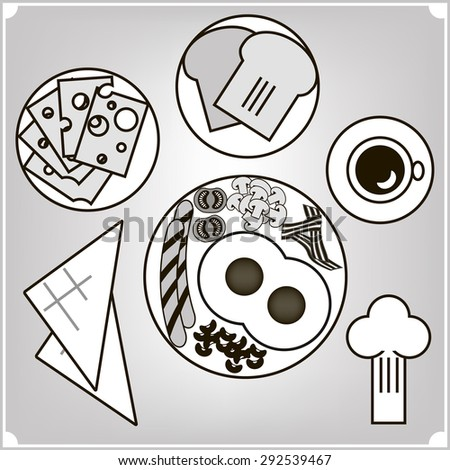 Above view of english breakfast food collection (eggs, sausages, beans, bacon and mushrooms) with cup of coffee, cheese and hot toasts.Vector illustration. Black and white.  - stock vector