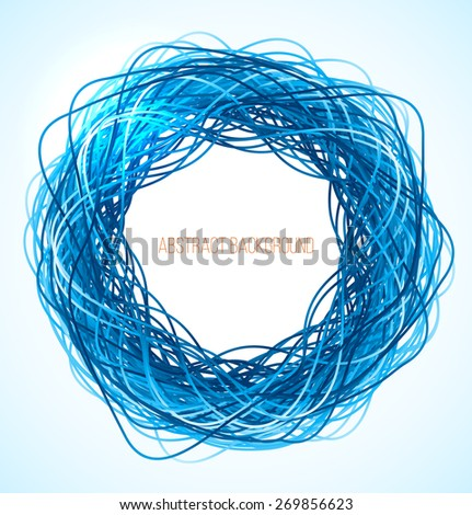 Absract blue circle background with lines. Vector illustration - stock vector