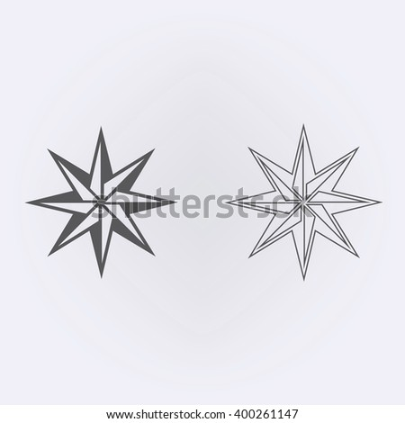 Abstact compass outline icon . Vector illustration - stock vector