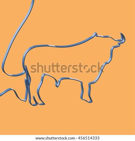 Abstact ribbon forms a bull, vector illustration - stock vector