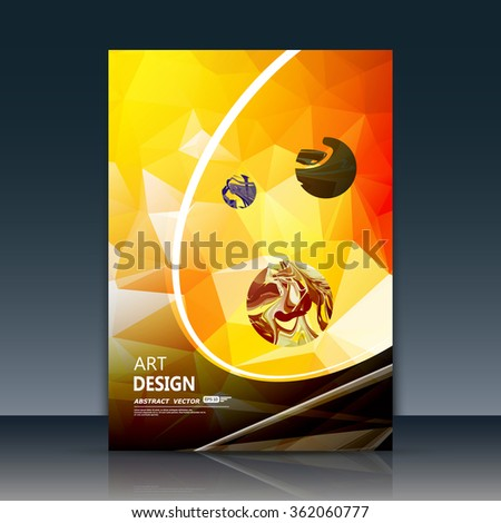 Abstract a4 brochure title sheet, swirl text frame icon, stain blotch deco, creative figure, curve line logo sign, paint blob, yellow, black, orange firm banner form, blur blot, flier fashion, EPS10 - stock vector