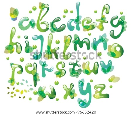Abstract ABC,green alphabet with leaves,vector illustration - stock vector
