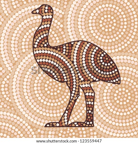 Abstract Aboriginal Emu dot painting in vector format. - stock vector
