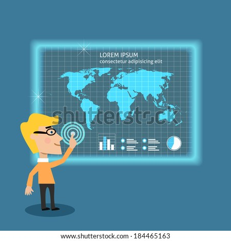 Abstract adult business man analyzing big data using touch screen board concept vector illustration - stock vector