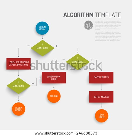 Abstract algorithm vector template with flat design - stock vector