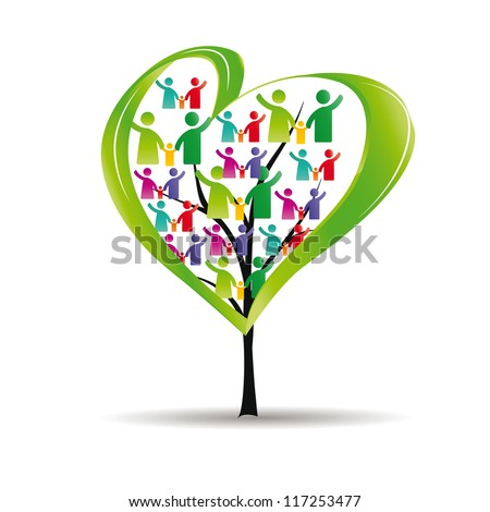 Abstract and colorful figures showing happy peoples and tree with heart - stock vector