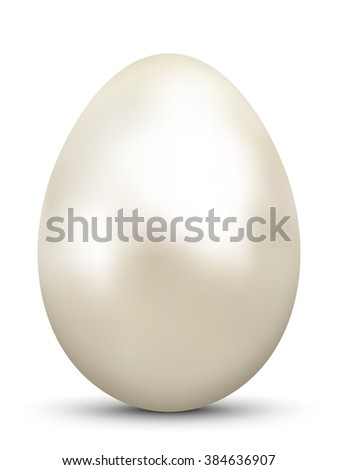 Abstract and Fanciful Realistic Beige Colored 3D Vector Easter Egg Pearl. Bright Oyster Pearl with Cream Colored Glossy Surface - Imaginative Easter Symbol on White Background. - stock vector