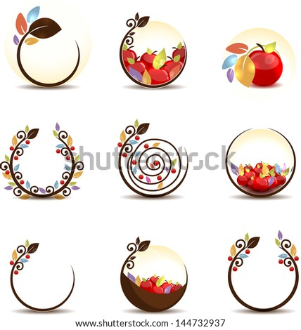 Abstract apple fruit concept. Isolated on a white background. - stock vector