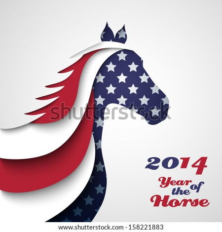 Abstract applique paper horse. Vector illustration for your happy holiday design. Christmas and New Year card. Colors of American flag. 2014 - stock vector