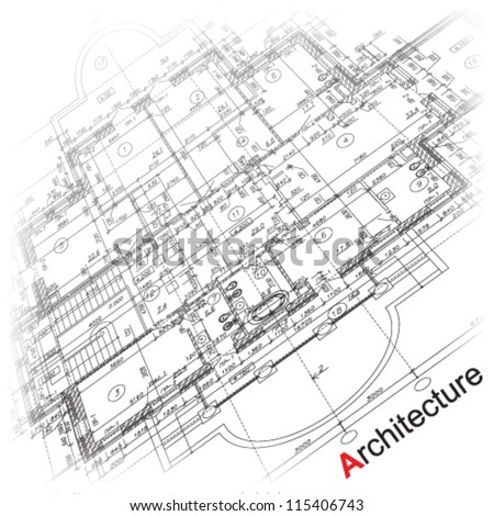 Abstract architectural background. Part of architectural project, architectural plan, technical project, drawing technical letters, architecture planning on paper, construction plan - stock vector