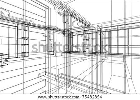 abstract architecture of office interior - stock vector