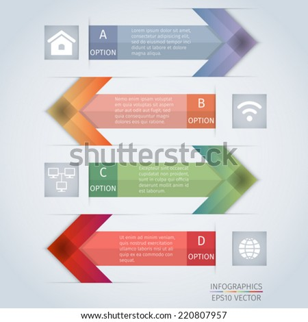 Abstract arrow infographics design with icons - stock vector