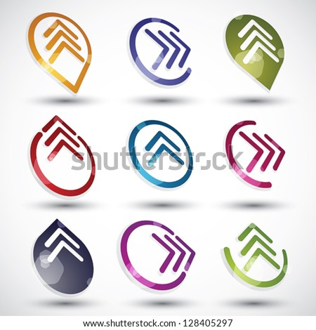 Abstract arrows icons set, round symbols vector collection. - stock vector