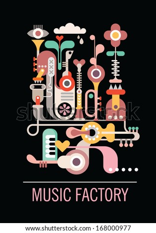 """Abstract art composition. Graphic design with text """"Music Factory"""". Isolated vector illustration on black background. - stock vector"""