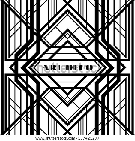 abstract art deco, geometric frame on a white background - stock vector