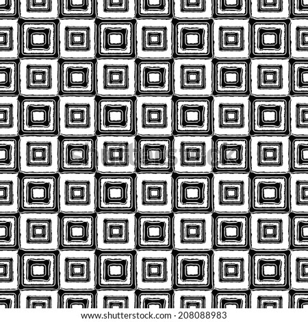 Abstract art ethnic distressed seamless pattern with squares in black and white. Geometric monochrome repeating background texture. Fabric design. Wallpaper - vector  - stock vector