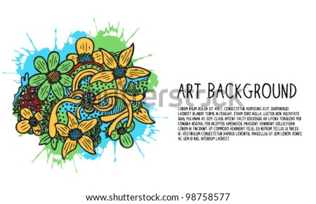 Abstract Art Flower Doodle Illustration Background - stock vector