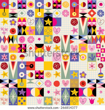 abstract art hearts flowers retro pattern - stock vector