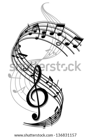 Abstract art music background with musical notes for entertainment design. Jpeg (bitmap) version also available in gallery - stock vector