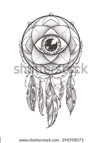 Abstract art of original dream catcher symbol. Geometric pattern with eye inside decorated with indian feathers. Original vector illustration.  - stock vector