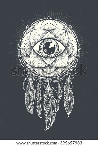 Abstract art of original dream catcher symbol. Geometric pattern with eye inside decorated with indian feathers. Dark background variation. Original vector illustration.  - stock vector