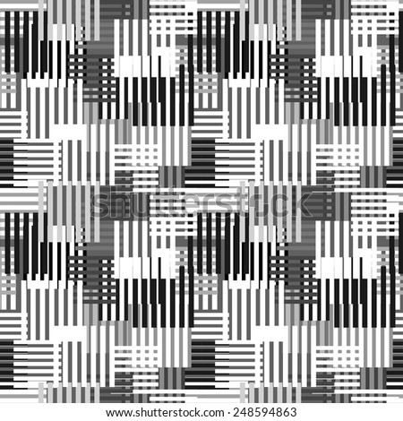 Abstract art stripped geometric seamless pattern. Modern monochrome background texture. Lines, stripes - stock vector