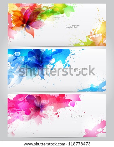 Abstract artistic Background with floral element and colorful blots. Vector design - stock vector