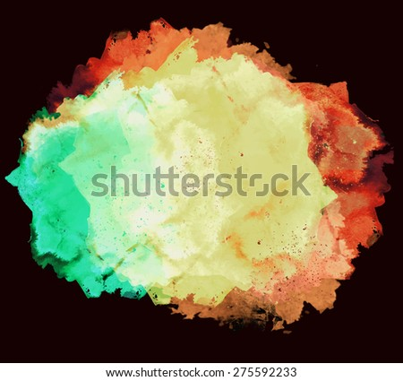 Abstract artistic beautiful elegant colorful bright vector watercolor spot hand painted background on black. Copy text template. Grunge spring summer color. Green orange shades. Fashion trend hues  - stock vector