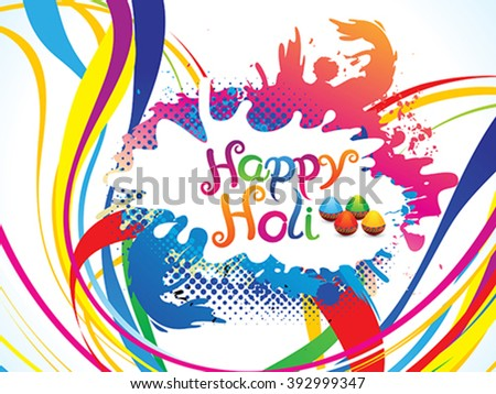 abstract artistic colorful holi explode vector illustration - stock vector