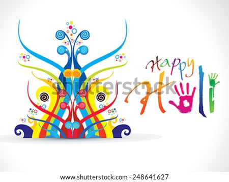 abstract artistic colorful holi vector illustration - stock vector