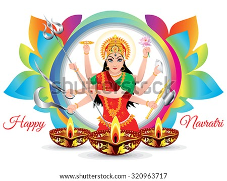abstract artistic colorful navratri background vector illustration - stock vector
