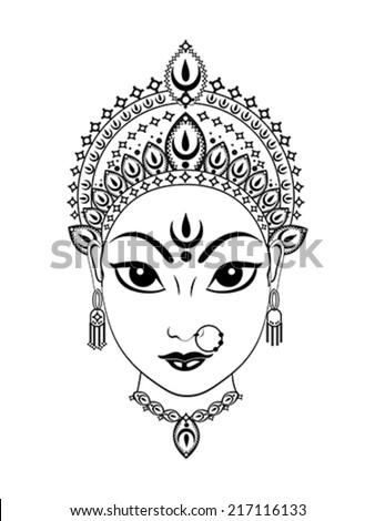 abstract artistic detailed durga background vector illustration - stock vector