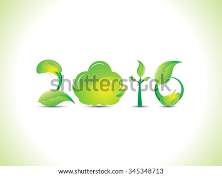 abstract artistic green new year text vector illustration - stock vector