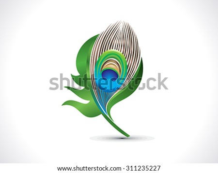 abstract artistic green peacock feather vector illustration - stock vector