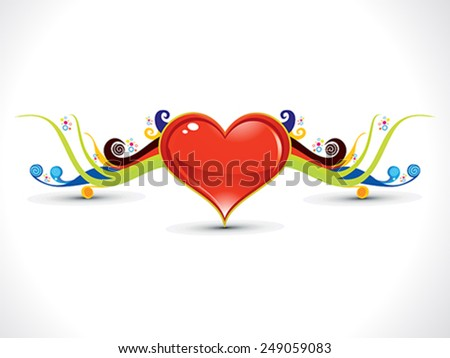 abstract artistic heart with colorful floral vector illustration - stock vector