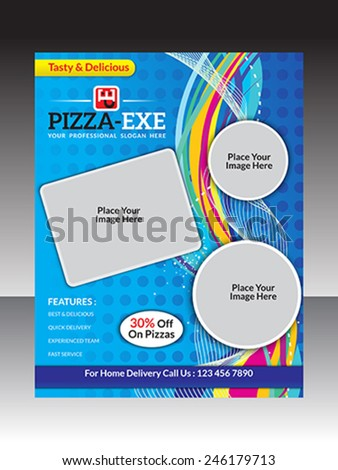 abstract artistic pizza store flyer vector illustration - stock vector