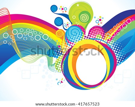 abstract artistic rainbow wave explode vector illustration - stock vector