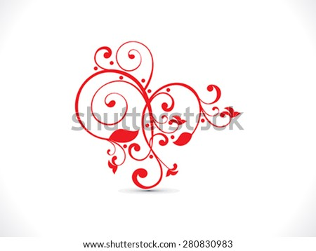 abstract artistic red floral heart vector illustration - stock vector