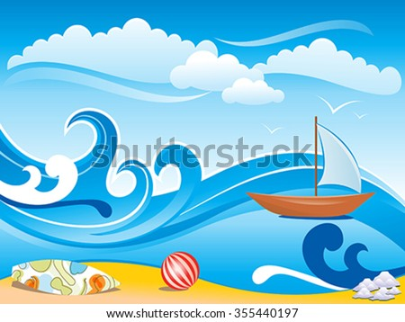 abstract artistic wave background vector illustration - stock vector