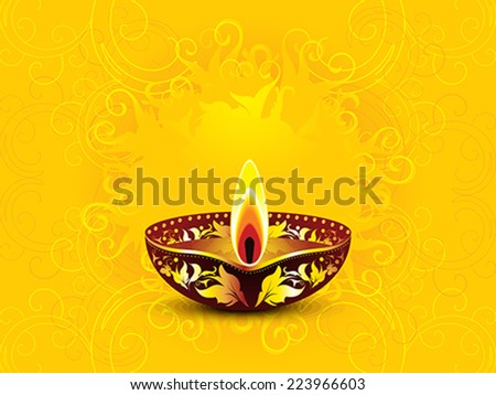 abstract artistic yellow diwali background vector illustration - stock vector