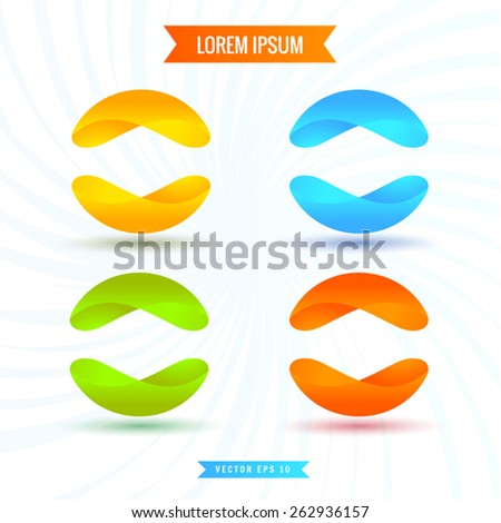 """Abstract artwork """"Lorem, Ipsum """"in the form of spheres of ribbons with shadows 3d vector illustrations  - stock vector"""